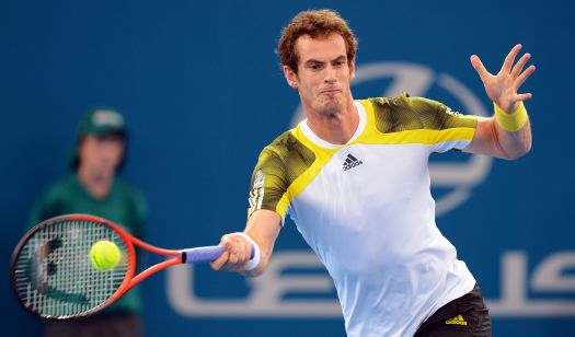 Andy Murray of Britain hits a forehand r